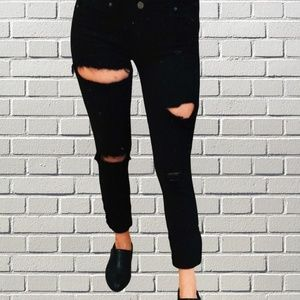 CUSTOM Distressed PAIGE Black Skinny Jeans-Grunge